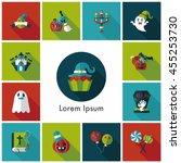 happy halloween party icons set | Shutterstock .eps vector #455253730