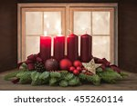 advent wreath with red candles...   Shutterstock . vector #455260114