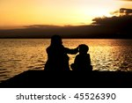 mother and son in the landscape | Shutterstock . vector #45526390