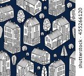 cartoon houses set. monochrome... | Shutterstock .eps vector #455266120
