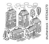 cartoon houses set. monochrome... | Shutterstock .eps vector #455266270