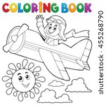 coloring book pilot in retro... | Shutterstock .eps vector #455268790