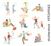Fathers Day Illustration Set Of Dads Playing With Kids - stock vector