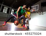 two basketball player playing... | Shutterstock . vector #455275324