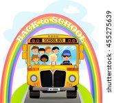 cartoon school kids riding a... | Shutterstock .eps vector #455275639