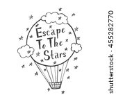 doodle air balloon and stars...   Shutterstock .eps vector #455282770