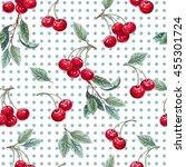 hand drawn painting cherry....   Shutterstock . vector #455301724