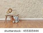 round icon stool interior... | Shutterstock . vector #455305444