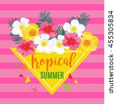 tropical summer poster with... | Shutterstock . vector #455305834