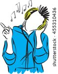 young man listening music with... | Shutterstock .eps vector #455310436