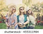 happy friends in the park on a... | Shutterstock . vector #455311984