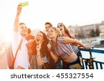 happy young people taking... | Shutterstock . vector #455327554