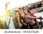 happy young people taking... | Shutterstock . vector #455327620