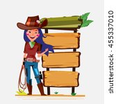 cowgirl with lasso with wood... | Shutterstock .eps vector #455337010