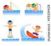 childrens water sport in... | Shutterstock . vector #455339428