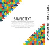 colorful puzzle in the corners... | Shutterstock .eps vector #455341363