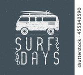 vintage surfing graphics and... | Shutterstock .eps vector #455342590