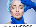 perfect girl with dark eyebrows ... | Shutterstock . vector #455345200