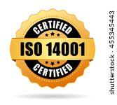 iso 14001 certified gold seal... | Shutterstock .eps vector #455345443