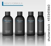 set men's of shampoo bottle.... | Shutterstock .eps vector #455345860