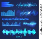set wave technology  digital... | Shutterstock .eps vector #455354446
