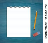 notepad with pencil and eraser... | Shutterstock .eps vector #455355790
