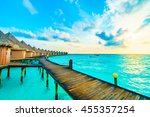 beautiful tropical maldives... | Shutterstock . vector #455357254