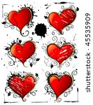 heart vector grunge decoration. ... | Shutterstock .eps vector #45535909