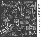 hand drawn music set. vector... | Shutterstock .eps vector #455365690