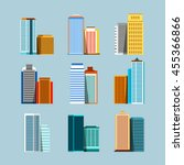 flat city  set of buildings on... | Shutterstock .eps vector #455366866
