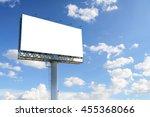 blank billboard with blue sky...   Shutterstock . vector #455368066