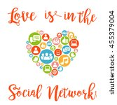 love is in the social network... | Shutterstock .eps vector #455379004