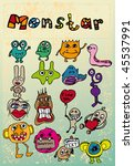 monsters in a retro style. | Shutterstock .eps vector #45537991