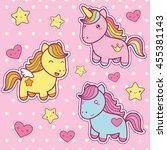 set collection of cute kawaii... | Shutterstock . vector #455381143