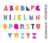 vector cute hipster handwriting ... | Shutterstock .eps vector #455389510
