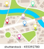 city map vector with blank... | Shutterstock .eps vector #455392780
