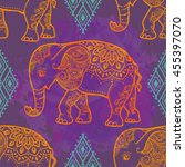 card with elephant. frame of... | Shutterstock .eps vector #455397070