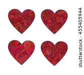 set doodle red hearts.   Shutterstock .eps vector #455405944