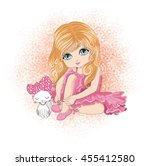 cute girl playing with cat... | Shutterstock .eps vector #455412580