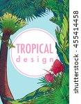 tropical floral frame with... | Shutterstock .eps vector #455414458
