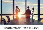 silhouettes of business people... | Shutterstock . vector #455418154