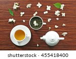 cup of tea with jasmine flowers ... | Shutterstock . vector #455418400
