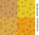 set of pastry seamless pattern... | Shutterstock . vector #455418748