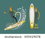 cool vector surfer character in ... | Shutterstock .eps vector #455419078