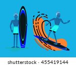 cool vector surfer character in ... | Shutterstock .eps vector #455419144