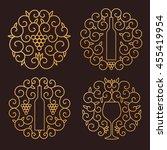 vector wine logo. outline... | Shutterstock .eps vector #455419954