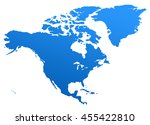 blue north america map. north... | Shutterstock . vector #455422810