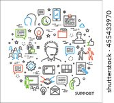 vector line concept support.... | Shutterstock .eps vector #455433970