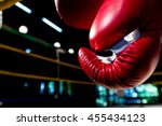 boxing gloves hangs off the... | Shutterstock . vector #455434123