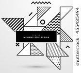 trendy geometric flat pattern ... | Shutterstock .eps vector #455435494